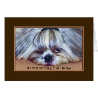 Cumpleaños, cuñada, perro soñoliento de Shih Tzu Tarjeta De Felicitación