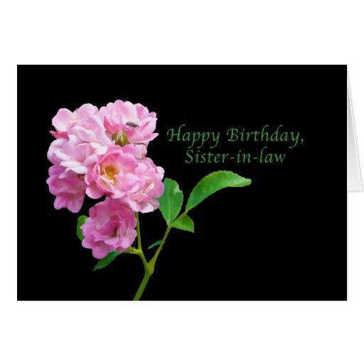 Cumpleaños, cuñada, rosas rosados del jardín tarjetón