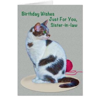 Cumpleaños, cuñada, tarjeta de ojos verdes del gat