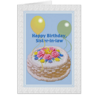 Cumpleaños, cuñada, torta y globos tarjeta de felicitación