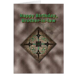 Cumpleaños, cuñado, Brown y extracto verde Tarjeta De Felicitación