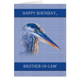 Cumpleaños, cuñado, garza de gran azul tarjeta de felicitación