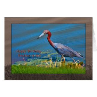 Cumpleaños, cuñado, pájaro de la garza de pequeño tarjeta de felicitación