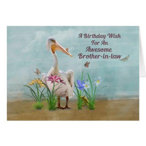 Cumpleaños, cuñado, pelícano, flores tarjeta