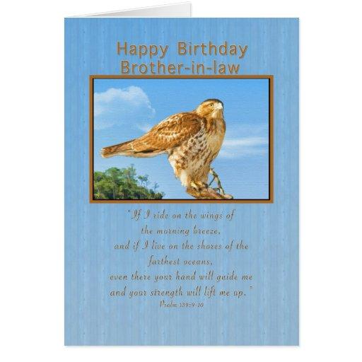 Cumpleaños, cuñado, tarjeta Áspero-legged del halc