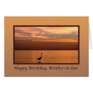 Cumpleaños, cuñado, vista al mar en la puesta del tarjeta