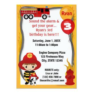 Cumpleaños dálmata FF01A del bombero del coche de Invitación 12,7 X 17,8 Cm