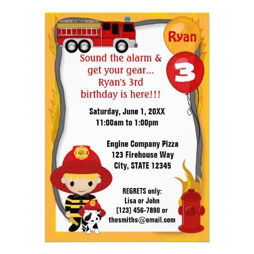 Cumpleaños dálmata FF01C del bombero del coche de  Invitaciones Personales