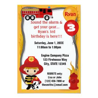 Cumpleaños dálmata FF01D del bombero del coche de Invitación 12,7 X 17,8 Cm