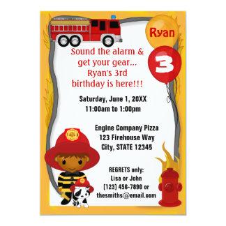 Cumpleaños dálmata FF03A del bombero del coche de Invitación 12,7 X 17,8 Cm