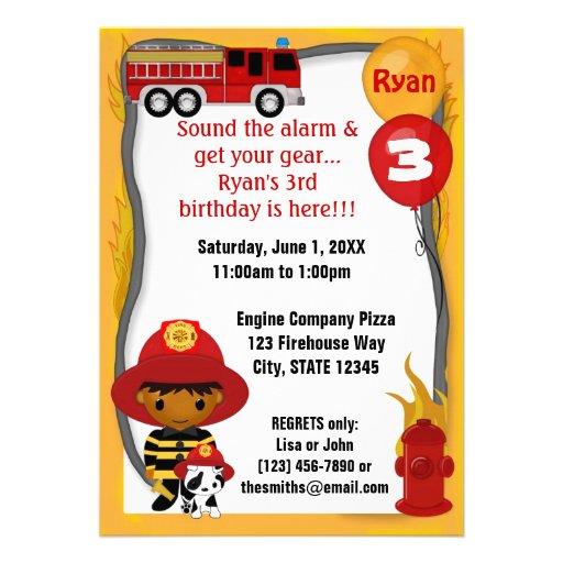 Cumpleaños dálmata FF03B del bombero del coche de  Comunicados Personales