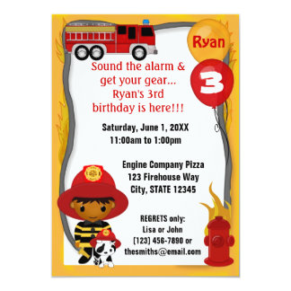 Cumpleaños dálmata FF03B del bombero del coche de Invitación 12,7 X 17,8 Cm