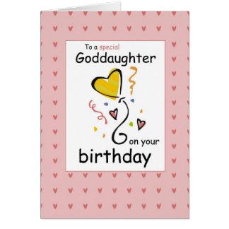 Cumpleaños de 3289 ahijadas, rosado tarjeta de felicitación