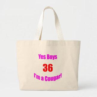 Cumpleaños de 36 pumas bolsas lienzo