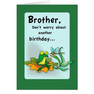 Cumpleaños de 4086 Brother, humor de la rana Felicitación