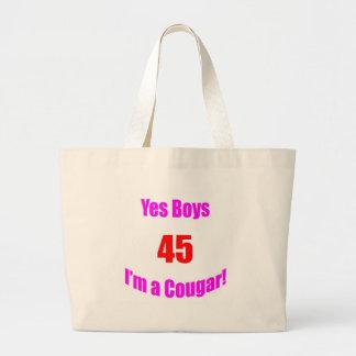 Cumpleaños de 45 pumas bolsa lienzo
