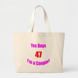 Cumpleaños de 47 pumas bolsas lienzo