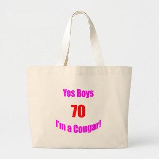 Cumpleaños de 70 pumas bolsas lienzo