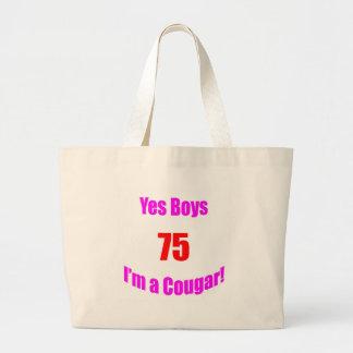 Cumpleaños de 75 pumas bolsa lienzo