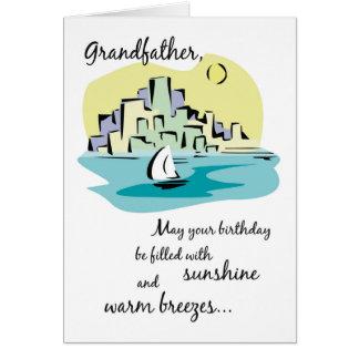 Cumpleaños de abuelo de la ciudad del velero tarjeta de felicitación