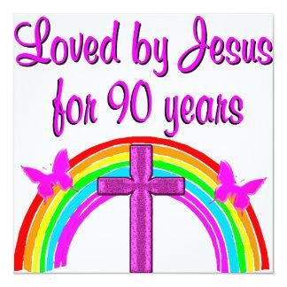 CUMPLEAÑOS DE AMOR de JESÚS 90.o Invitación 13,3 Cm X 13,3cm