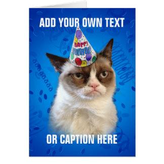 Cumpleaños de Customizeable del gato gruñón feliz Tarjetón