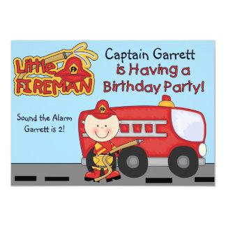 Cumpleaños de encargo del coche de bomberos del invitación 12,7 x 17,8 cm