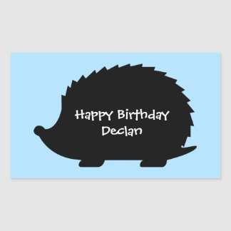Cumpleaños de encargo del erizo lindo feliz pegatina rectangular