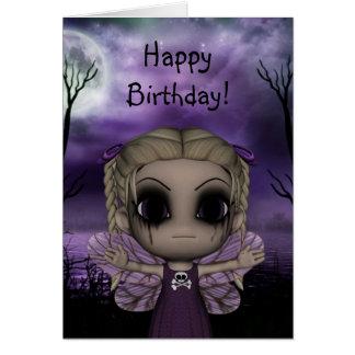 Cumpleaños de hadas gótico 1 de la diversión linda tarjeta de felicitación