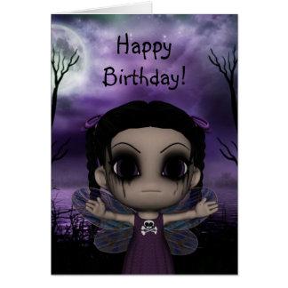 Cumpleaños de hadas gótico 3 de la diversión linda tarjeta de felicitación