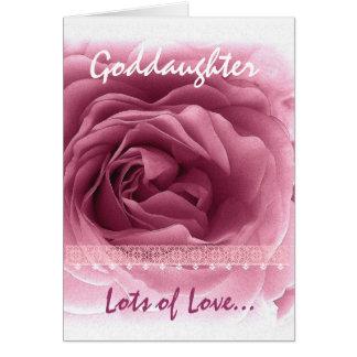 Cumpleaños de la AHIJADA - ajuste color de rosa y Tarjeta De Felicitación