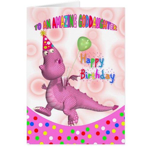 Cumpleaños de la ahijada con el dragón y la soda r felicitación