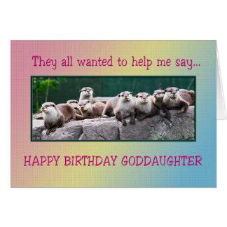 Cumpleaños de la ahijada con las nutrias tarjeta de felicitación