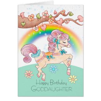 Cumpleaños de la ahijada con un potro dulce tarjeta de felicitación