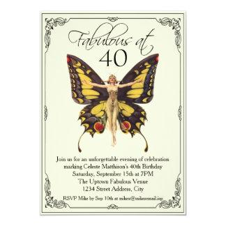 Cumpleaños de la aleta del vintage 40.o invitación 12,7 x 17,8 cm