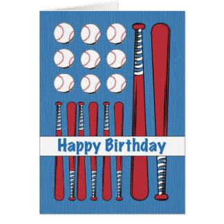 Cumpleaños de la bandera del béisbol, rojo, tarjeta de felicitación