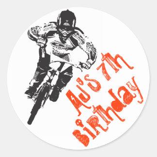 Cumpleaños de la bici de BMX Pegatina Redonda