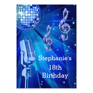 Cumpleaños de la bola de discoteca azul y del invitación 12,7 x 17,8 cm