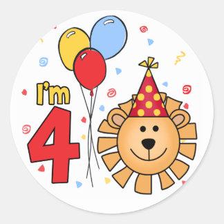 Cumpleaños de la cara del león 4to etiquetas redondas