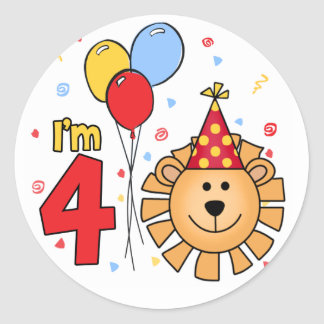 Cumpleaños de la cara del león 4to pegatina redonda