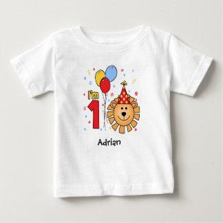 Cumpleaños de la cara del león primer camiseta de bebé