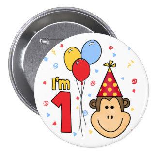 Cumpleaños de la cara del mono primer chapa redonda de 7 cm