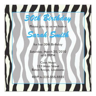 Cumpleaños de la cebra invitación 13,3 cm x 13,3cm