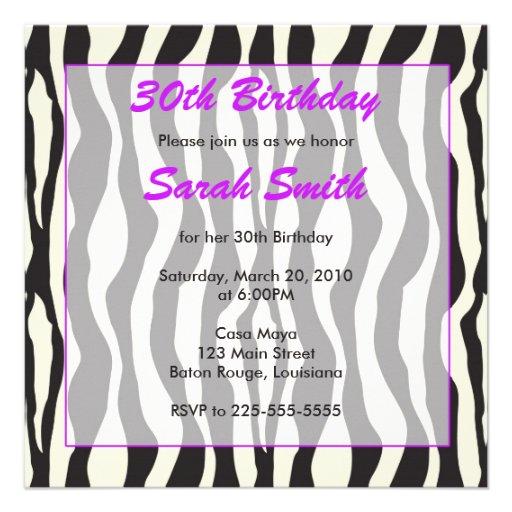 Cumpleaños de la cebra comunicado personalizado
