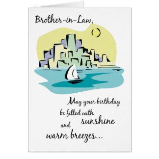 Cumpleaños de la ciudad del velero del cuñado tarjeta de felicitación