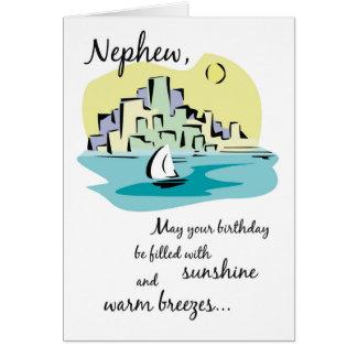 Cumpleaños de la ciudad del velero del sobrino tarjeta de felicitación