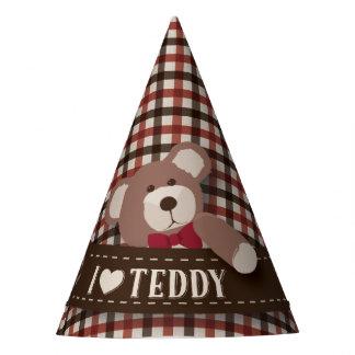 Cumpleaños de la comida campestre del oso de gorro de fiesta