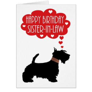 Cumpleaños de la cuñada con el escocés de la tarjeta de felicitación
