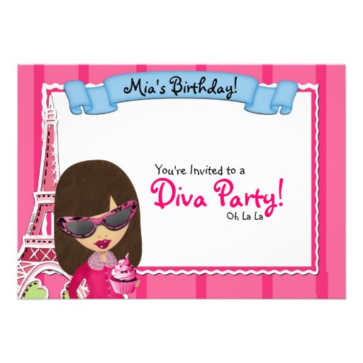Cumplea Os De La Diva Invitaci N 12 7 X 17 8 Cm Zazzle