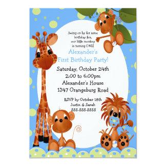 Cumpleaños de la diversión del safari 1r invitación 12,7 x 17,8 cm
